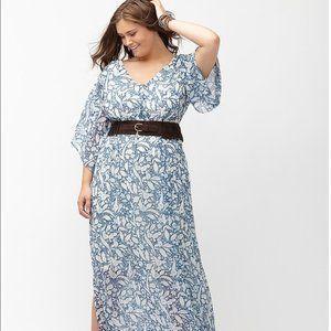 Lane Bryant Blue Boho Floral Maxi Dress 26/28 3X